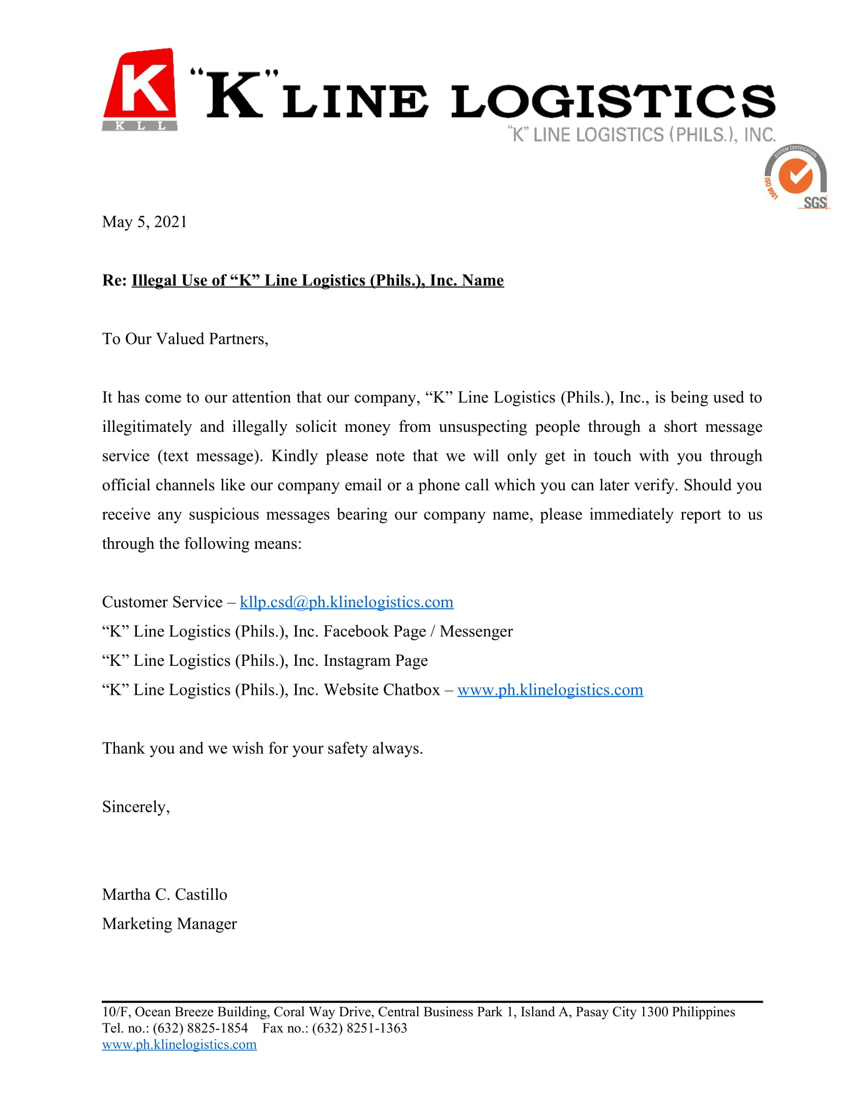Announcement - Illegal Use of KLLP's Name.jpg